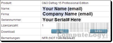 O&O Defrag 15 Professional Edition Email Containing License