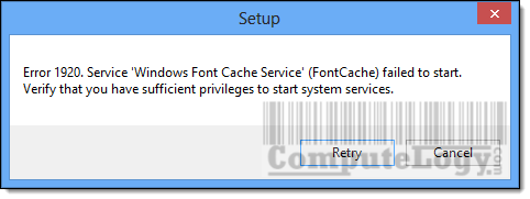 Windows Font Cache Service Error 1920