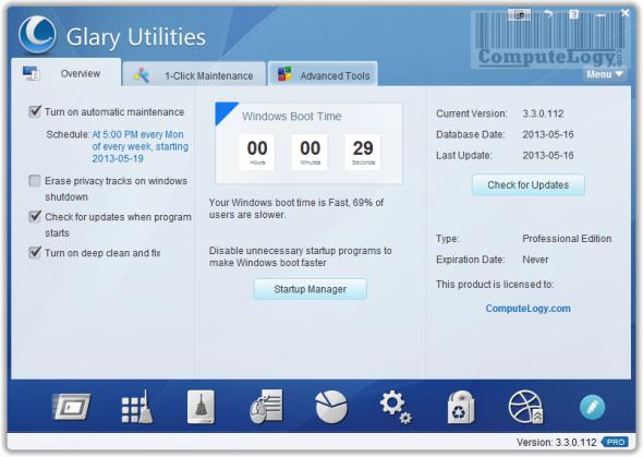Glary Utilities Pro 3 Interface