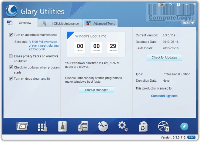 Glary Utilities Pro 3 Interface