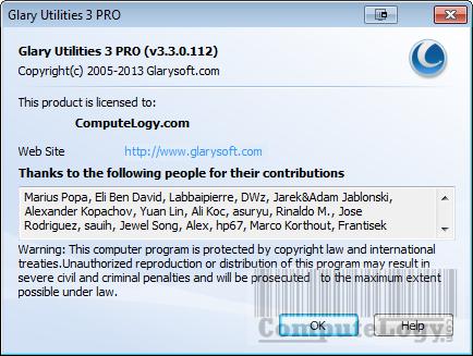 Glary Utilities Pro 3 Registerd to ComputeLogy.com
