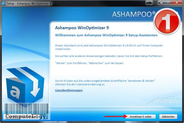 Ashampoo WinOptimizer 9 Installation 1