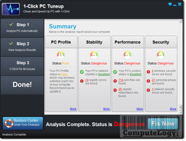 1-Click PC Tuneup Analysis
