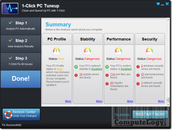 1-Click PC Tuneup Restart