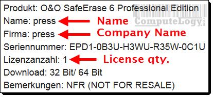 O&O SafeErase 6 Professional Genuine License Key