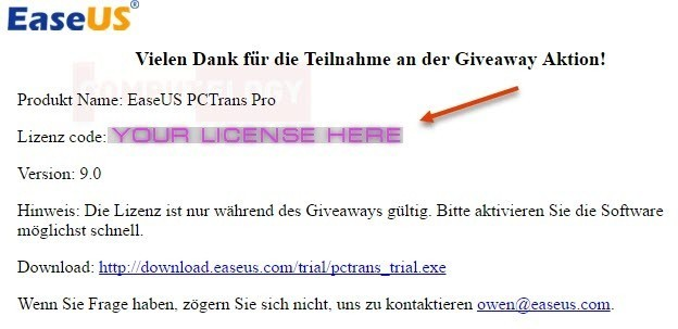 EaseUS Todo PCTrans Pro license page