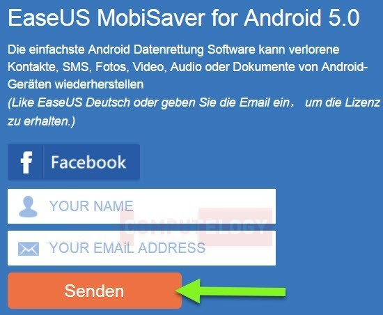 webpage to ask for easeus mobisaver license
