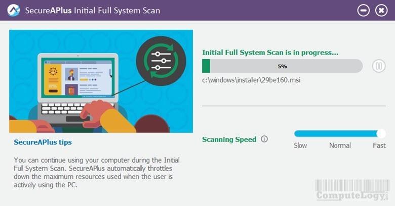 SecureAPlusSetup interface antivirus scanning