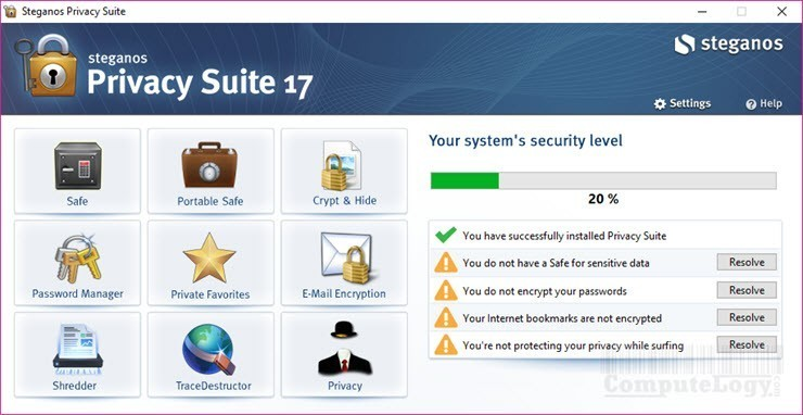 Steganos Privacy Suite 17 main interface window computelogy-com
