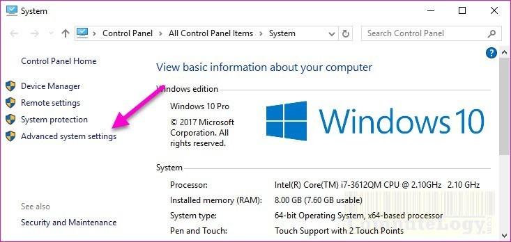 Windows Advanced System Settings open
