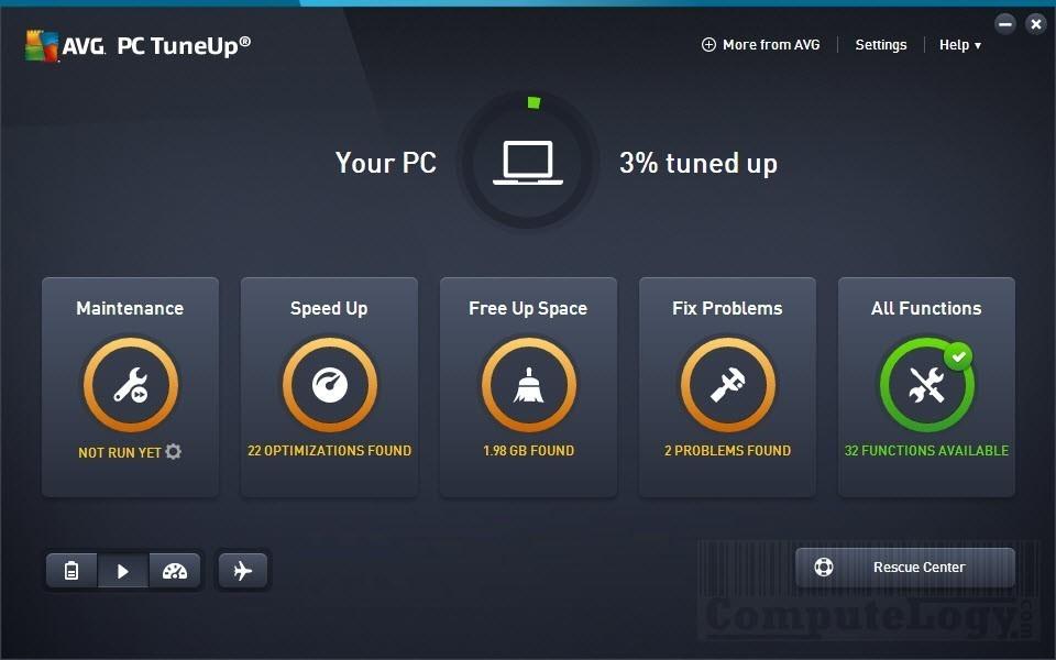 avg pc tuneup utilities main window computelogy-com