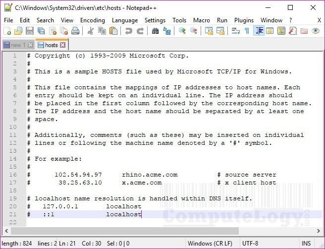 windows 10 hosts file sample computelogy-com