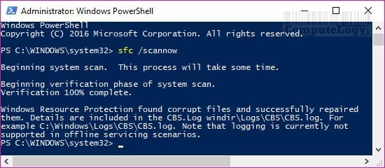windows 10 powershell sfc scannow command computelogy-com