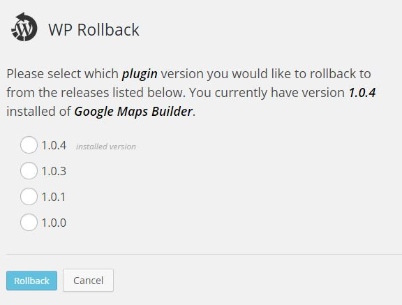 wordpress plugin Rollback version selection