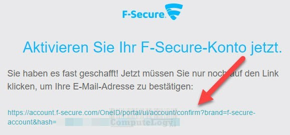 F-Secure SAFE 6 months license email confirmation link