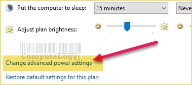 change advanded power settings in control panel