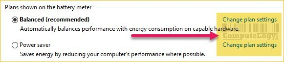 change power plan settings in power options in control panel