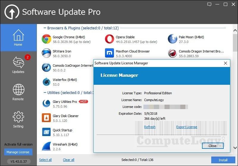 galarysoft software update pro app interface computelogy-com