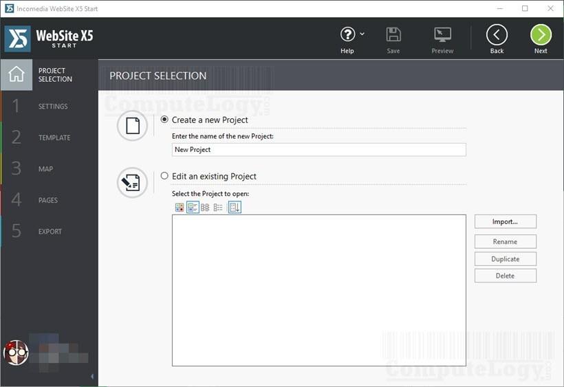 incomedia webiste x5 start software main window computelogy-com