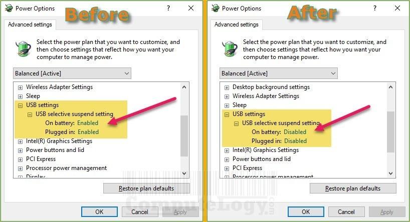 usb settings change plan in power options