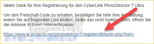 CyberLink PhotoDirector 7 Ultra license request email form from pc-magazin computelogy-com