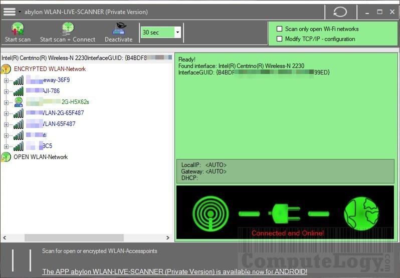 Abylon WLAN-Live-Scanner 2017 main window computelogy-com