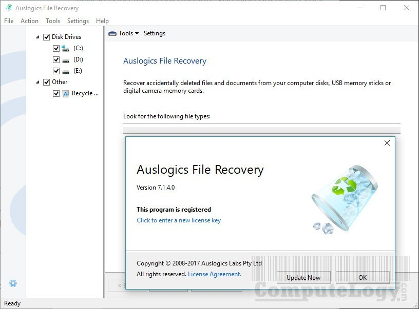 Auslogics File Recovery 7 main interface with registration info computelogy-com