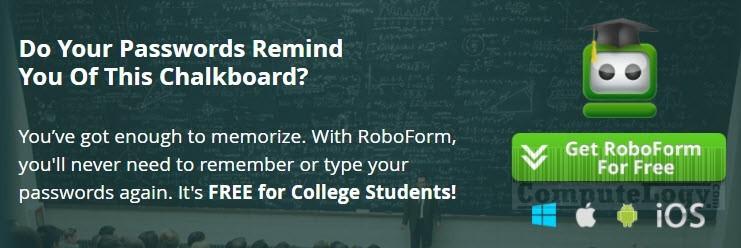 RoboForm student free promo banner computelogy-com