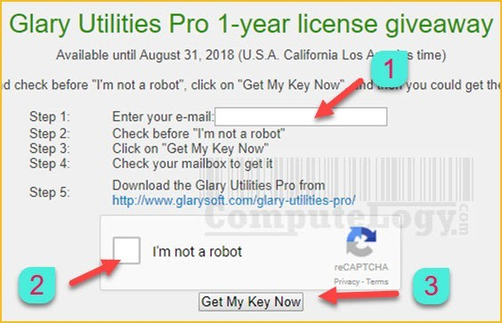 Glary-Utilities-Pro-one-year-license-request-form