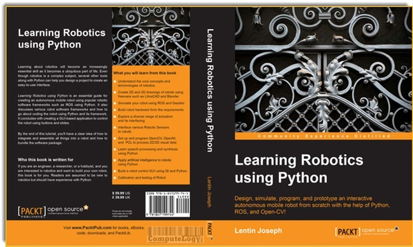 Learning Robotics Using Python book cover title page