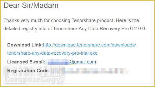 Tenorshare Any Data Recovery Pro license key code serial email