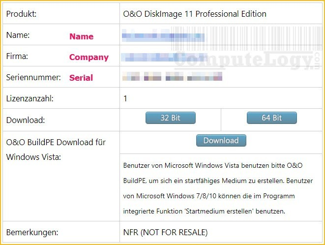 o&o diskimage professional edition 11 license email